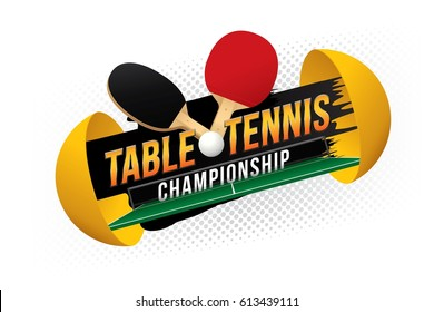 Table tennis championship design with green table.