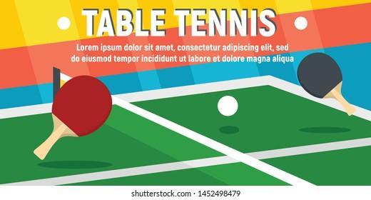 Table tennis concept banner. Flat illustration of table tennis vector concept banner for web design