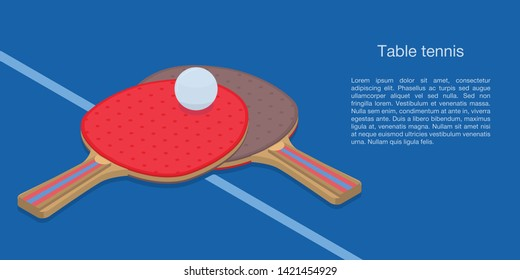 Table tennis concept banner. Isometric illustration of table tennis vector concept banner for web design