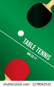 Table tennis design with green table.
