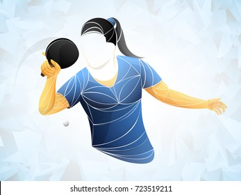 table tennis girl vector. Young girl table tennis player isolated
