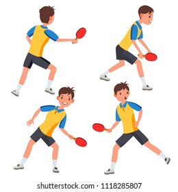 Table Tennis Male Player Vector. In Action. Twists The Ball. Ping Pong. Cartoon Character Illustration