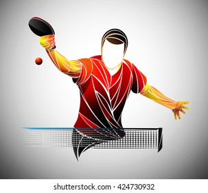 Table Tennis Ping Pong Player Athlete Game Vector