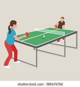 table tennis ping pong woman female girl athlete play sport games cartoon drawing illustration