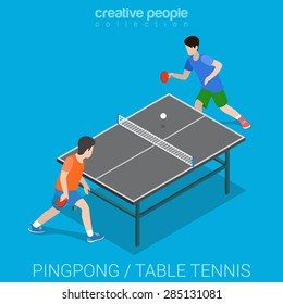 Table tennis pingpong match. Sport modern lifestyle flat 3d web isometric infographic vector. Creative sportsmen people collection.
