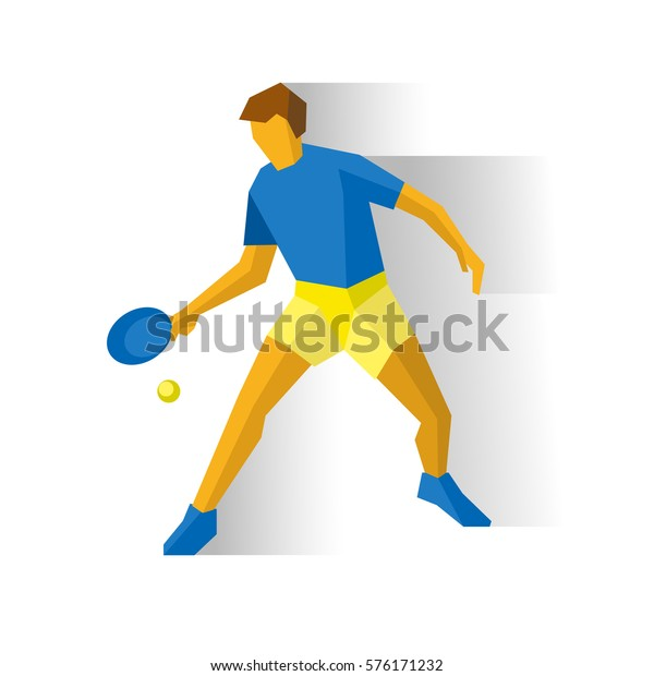 Table tennis player. Athlete isolated on white background with shadows. International sport games infographic. Sportsman with racket and ball - flat style vector clip art. Element for logo design.