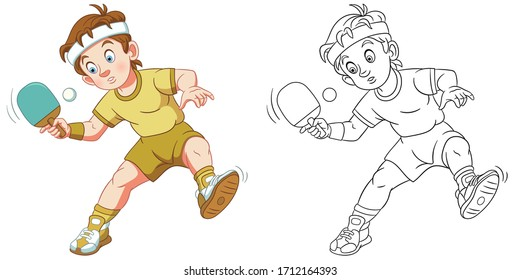Table tennis player, boy playing ping pong. Coloring page and colorful clipart character. Cartoon design for t shirt print, icon, logo, label, patch or sticker. Vector illustration.