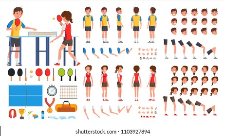 Table Tennis Player Male, Female Vector. Animated Character Creation Set. Ping Pong. Man, Woman Full Length, Front, Side, Back View, Accessories, Poses, Face Emotions, Gestures. Isolated Flat Cartoon