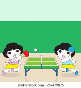 Table Tennis Players character illustration