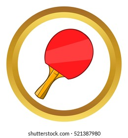 Table tennis racket vector icon in golden circle, cartoon style isolated on white background