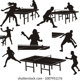 table tennis silhouettes - players in action