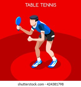 Table Tennis Sportsman Games Icon Set. 3D Isometric Ping Pong Athlete. Sporting Championship Table Tennis Match Competition. Sport Infographic events people Table Tennis Vector Illustration.