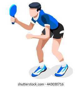 Table Tennis Sportsman Games Icon Set. 3D Isometric Ping Pong Athlete. Sporting Championship People Set Competition. Sport events Infographic Table Tennis Vector Illustration