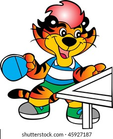 table tennis tiger vector