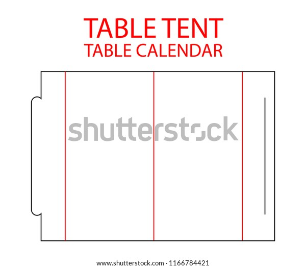 Table tent, calendar die cut template stamp. Vector black isolated circuit table calendar. Die line table tent with lock. Blank white calendar mock up landscape horizontal for print table cards.