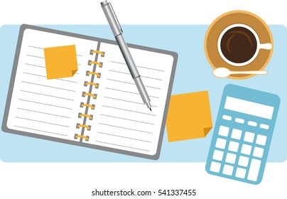 Table top view with coffee and a calculator