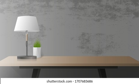 A table with a wooden shadow and a black shadow. Table lamp, indoor plant. Gray concrete wall. Vector illustration.