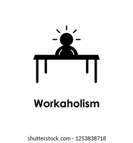 table, worker, workaholic icon. One of business icons for websites, web design, mobile app