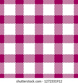 Tablecloth pattern. Gingham / vichy texture variation. Seamless tile. Bright magenta color. Pixel texture.