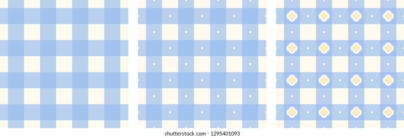 Tablecloth pattern light blue, white colors vichy check all over motif. Print block for kitchen accessories, interior textile, linen, chintz fabric, flannel blanket, plaid. Simple checkered ornament.