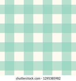 Tablecloth pattern neo mint green, white vichy all over motif. Print block for kitchen accessories, interior textile, linen, chintz fabric, flannel blanket, plaid. Simple geometric checkered ornament.