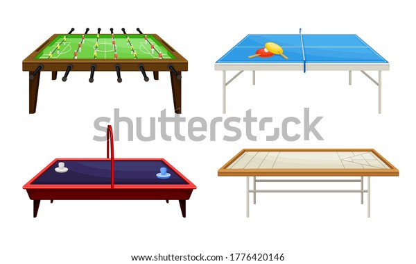 Tables for Board Games with Tennis Table and Foosball Table Vector Set