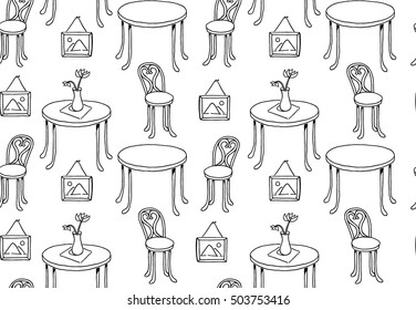 Tables, chairs, picture on wall. Vector seamless black and white pattern. Background for use in design, web site, packing, textile, fabric.