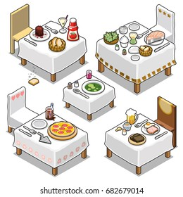 Tables and chairs prepared for fine restaurant dining, with steak, cocktail, fish, bread, salad, pizza, beer and soup (isometric vector collection)
