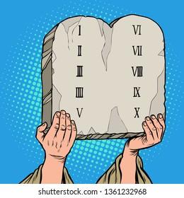 tables of the covenant. Ten Commandments of Moses. Pop art retro vector illustration vintage kitsch 50s 60s