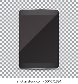 Tablet with blank screen on a transparent background
