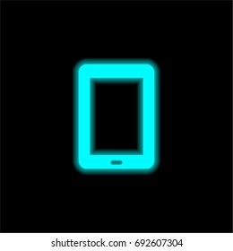 Tablet blue glowing neon ui ux icon. Glowing sign logo vector