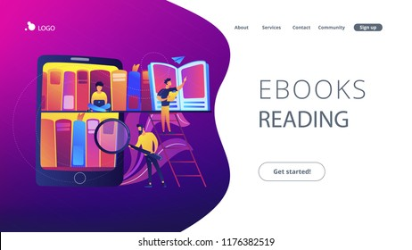 Tablet with bookshelves and students searching and reading information. Digital learning, online database, content storing and searching, ebooks concept, violet palette. Website landing web page.