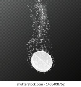 Tablet with bubbles. Effervescent dissolving aspirin pill in fizzy water. Vitamin drug with bubbles. Pharmacy dissolve medicine for healthcare vector isolated template