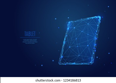 A tablet composed of polygons. Low poly vector illustration of TAB of a starry sky style. Gadget consists of lines, dots and shapes. Internet or digital or devices and computer symbol.