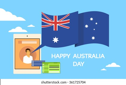 Tablet Computer Australia Day National Flag Holiday Flat Vector Illustration