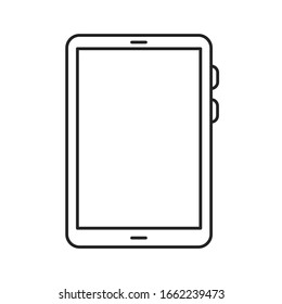 Tablet computer black line icon. Front view. Electronic device. Pictogram for web page, mobile app, promo. Editable stroke.