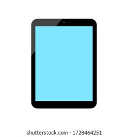 tablet computer with blank blue screen isolated on white background. vector illustration