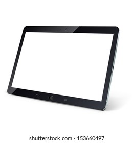 Tablet computer with blank white screen isolated on white background vector illustration.