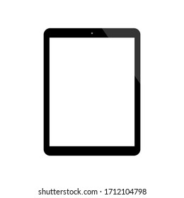 tablet computer with blank white screen isolated on white background. vector illustration