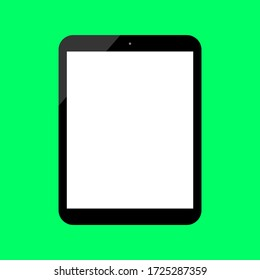 tablet computer with blank white screen isolated on green background. vector illustration