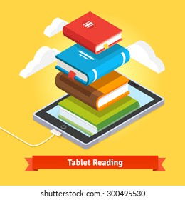 Tablet computer book reading and modern cloud technology mobile education concept. Flat style vector isolated illustration.