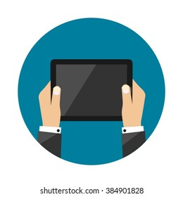 Tablet Computer In Business Man Hands Getting Blank Empty Symbol Sign Modern Flat Vector Illustration Design