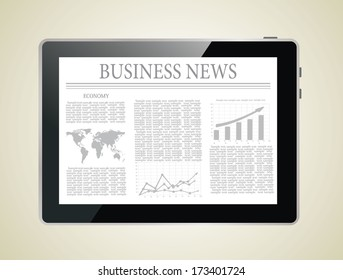 Tablet computer with business news on a screen