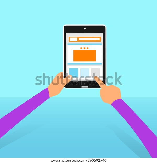 tablet computer button touch finger on line flat vector illustration