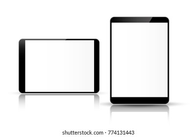 Tablet computer isolated on white background vector illustration.