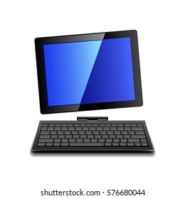 Tablet computer with keyboard isolated photo-realistic vector illustration