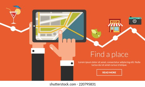 Tablet computer with map and many places. Vector concept for online advertising