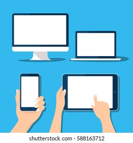 Tablet, computer, mobile, laptop icon set Hand holding and touch device. Template horizontal, vertical blank white screen mock up. Sign isolated on blue. Vector cartoon flat design for web site app UI