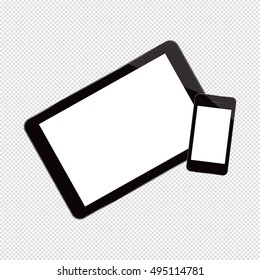 Tablet computer, mobile phone, smart watch isolated on transparent background. Space for your ads.