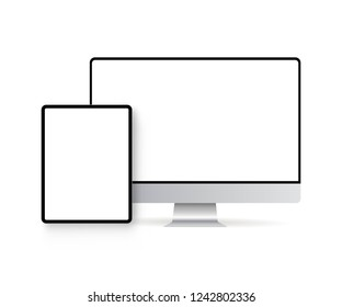 Tablet computer and monitor with blank screens isolated on white background. Modern devices mockups for showcase your website designs. Vector illustration